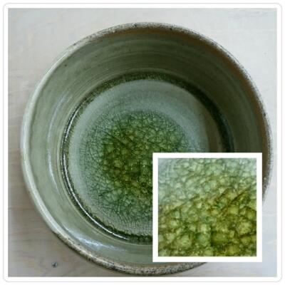 ビードロ釉の中鉢を、登り窯で焼いたらこんなに素敵に、、。