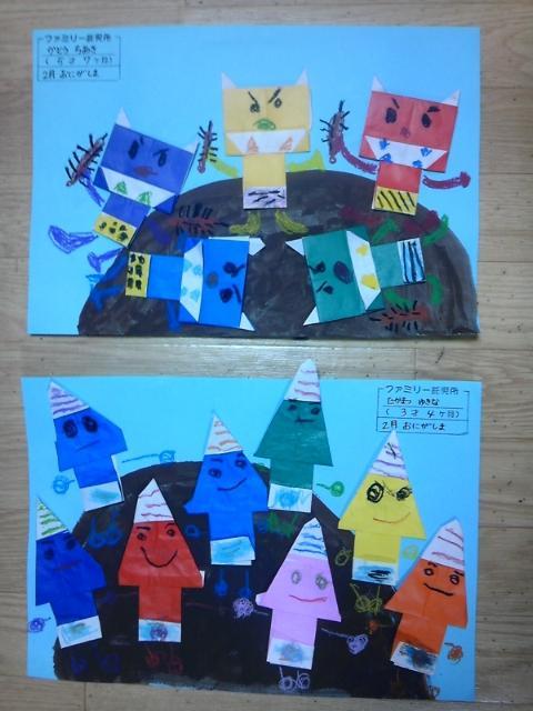 2月は、節分にちなんで鬼が島の制作です。折り紙で鬼作り!