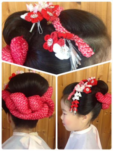 日本髪のヘアセット(七五三)