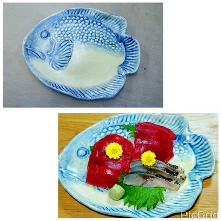 今日の夕飯のおかずマグロとシメサバ。自作の魚の皿に盛り付けて