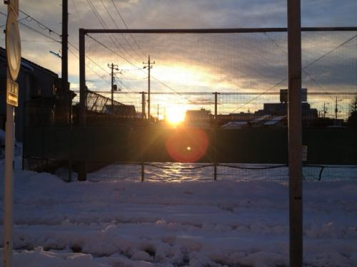 思いがけず朝日が見れました