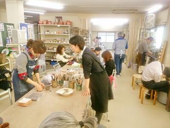 陶芸教室 東京 国立けんぼう窯。1月の教室風景。