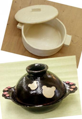 陶芸教室 東京 国立けんぼう窯 白い土鍋と黒い土鍋が完成。