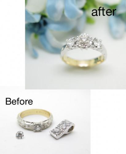 結婚指輪のリフォーム ダイヤモンド持ち込み コンビリング