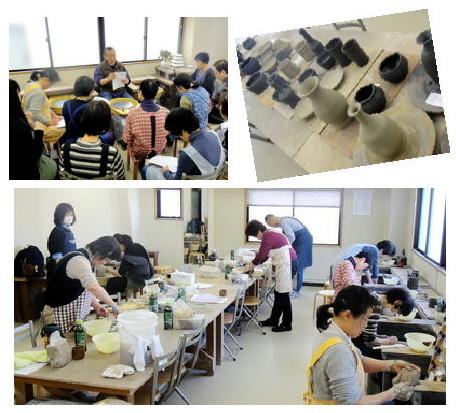 陶芸教室 東京 国立けんぼう窯 登り窯に向けてロクロに集中