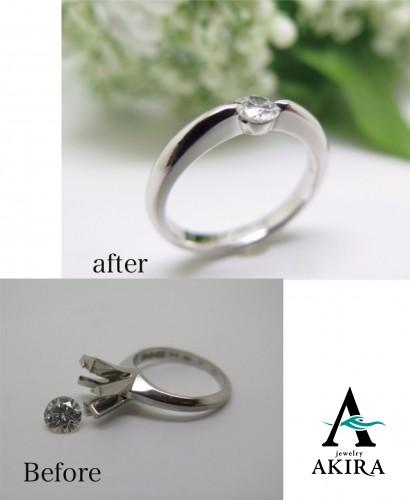 立て爪の婚約指輪をシンプルにリフォーム