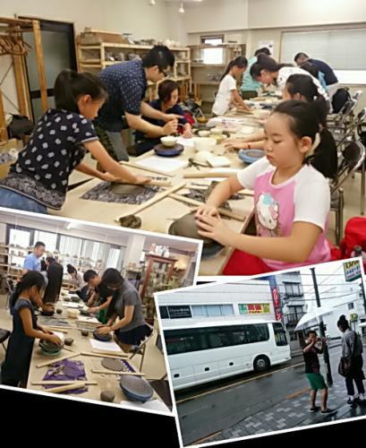 中国人観光客の団体さんの陶芸体験。陶芸教室 国立けんぼう窯