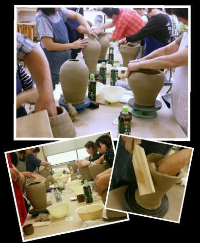 陶芸教室 国立けんぼう窯 叩き作りの壷を集中講座で制作。