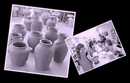 国立けんぼう窯です。集中講座で制作した壷を並べてみました。