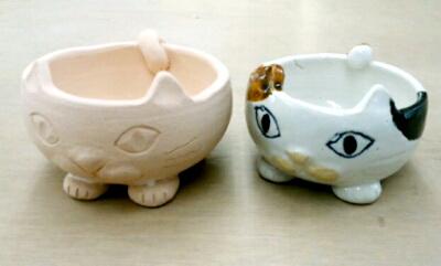 かわいい三毛猫の器。陶芸教室 東京国立けんぼう窯Sさんの作品