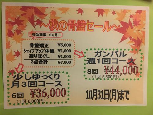 「骨盤シェイプアップ」10月末までの大特価セール