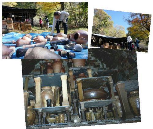 登り窯の窯出し完了しました。陶芸教室 東京国立けんぼう窯