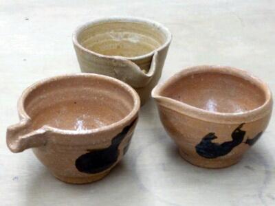 陶芸教室 東京国立けんぼう窯 唐津粘土で作った片口3種類