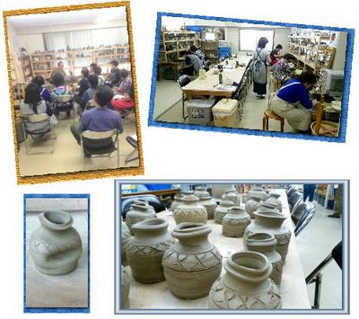 集中講座で、うずくまるという壺を作りました。国立けんぼう窯