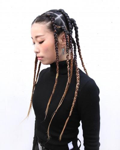 ロングブレイズ・ブラックヘアー・編み込み