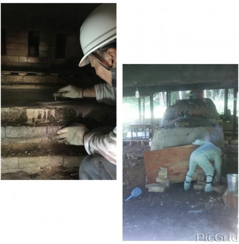 陶芸教室 国立けんぼう窯 アルミナセメントで登り窯内部の補修