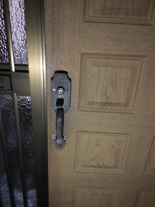 水戸市で玄関鍵交換しました