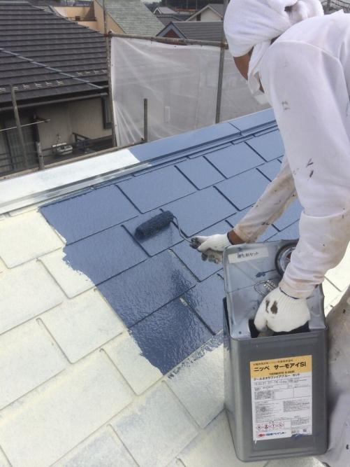 川越市で屋根塗装工事施工しました