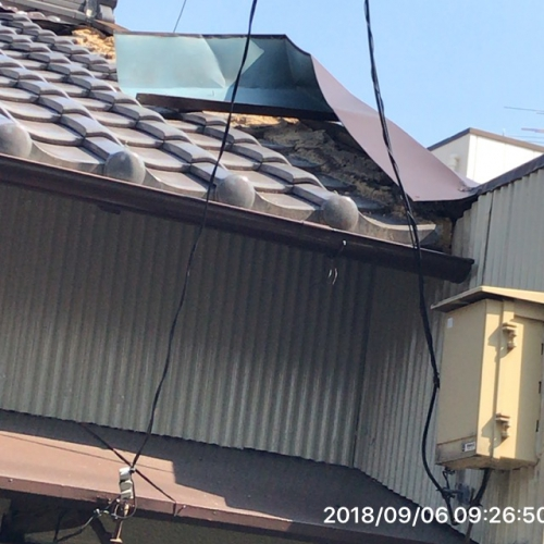 台風被害修理依頼多数