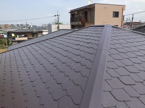 坂戸市で屋根の遮熱フッ素塗装を施工致しました