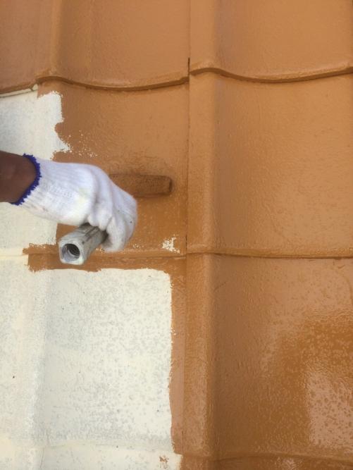 川越市でセメント瓦の塗装を施工しました