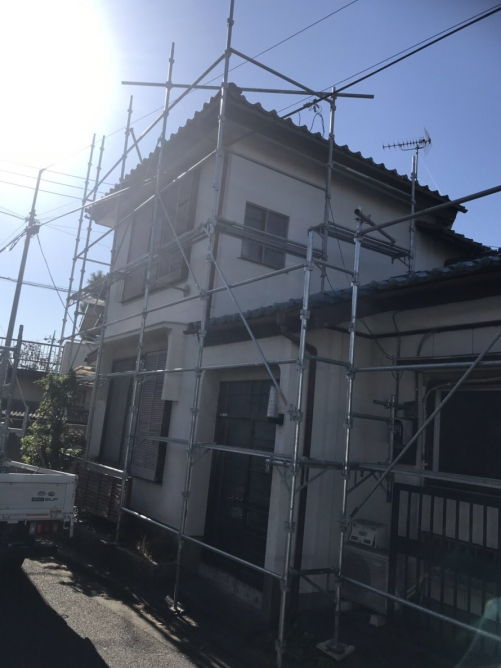 東松山市で仮設足場工事が完了致しました