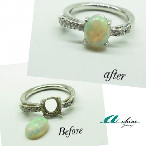 変形して石が取れてしまった指輪の修理