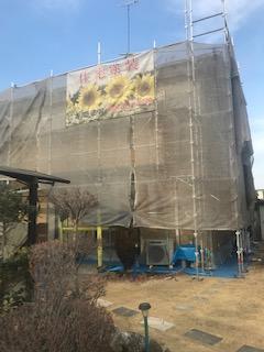 東松山市で屋根・外壁塗装工事施工中です