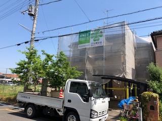 本日鶴ヶ島市で外壁高圧洗浄工事をしてきました