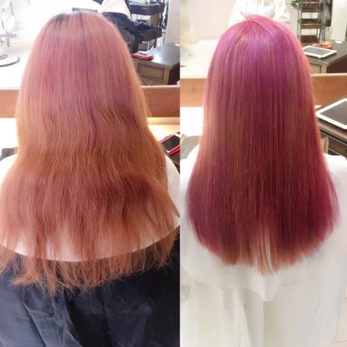 ピンクヘアー Before After!