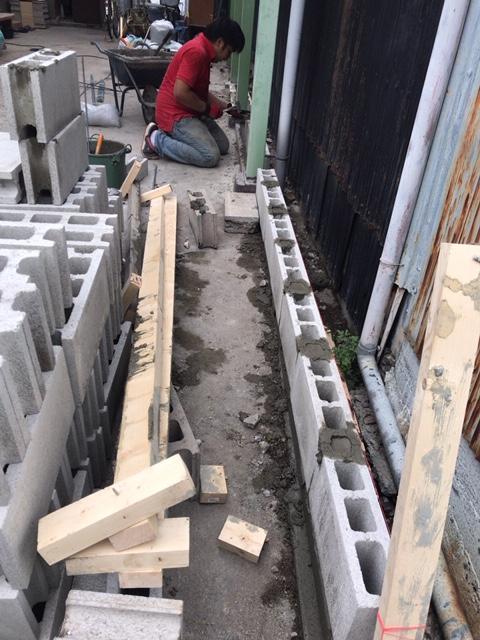 ブロツク塀の積み替え