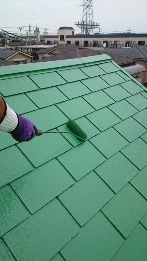 草加市青柳屋根上塗り