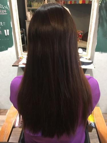 3年伸ばした髪をヘアドネからの縮毛矯正