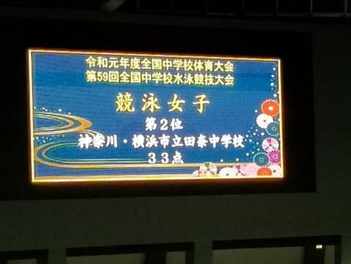 田奈中学校 全国2位