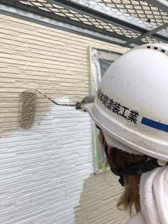 川越市でサイディングの中塗り工事を施工してきました