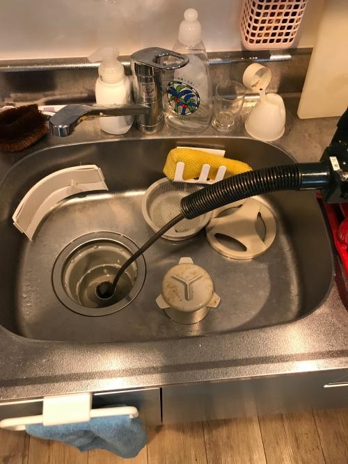 川口市にてキッチンつまり除去実施。