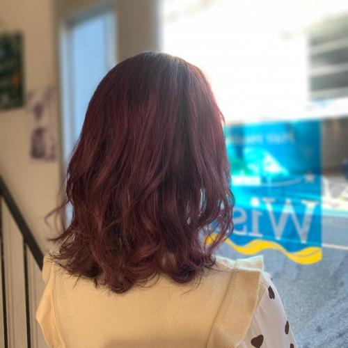 調布美容室でダブルカラー→ピンク