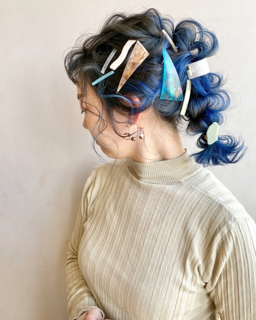 ブルー カジュアル アレンジヘア