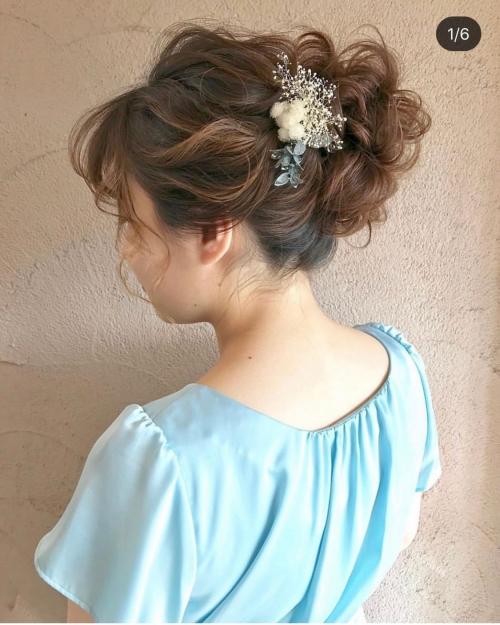 ミドルお団子スタイル アレンジ brambly 髪飾り