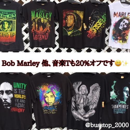 ボブ・マーリー他、音楽Tシャツも20%オフです!