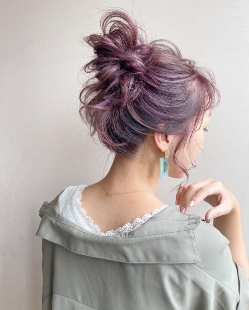 お団子 ピンクラベンダーカラー  夏髪ヘア
