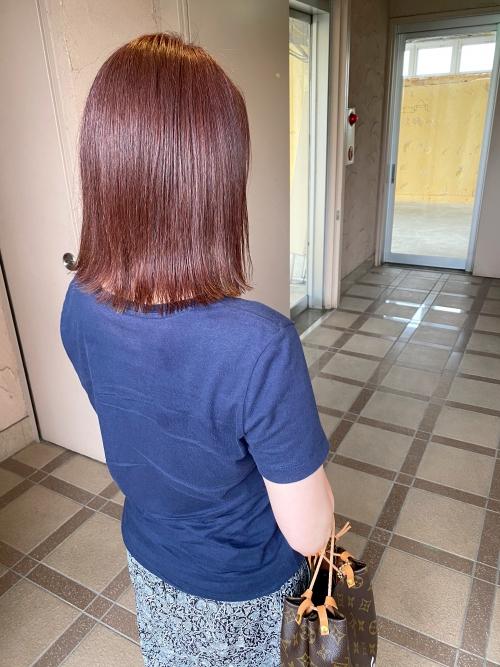 ピンクブラウン グレイカラー 白髪染め ピンクヘアー