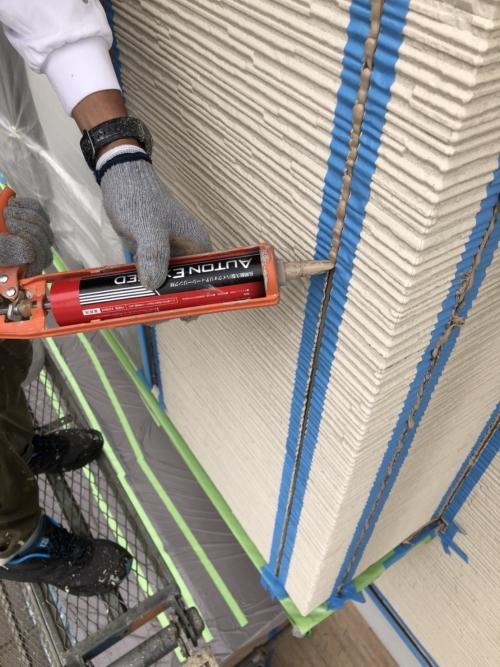 川越市で外壁コーキング工事を施工してきました