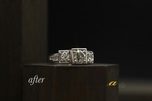 大粒ダイヤ3石を使った指輪のリフォーム