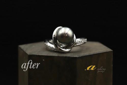 黒真珠の指輪をリフォーム致しました美浜区からご来店