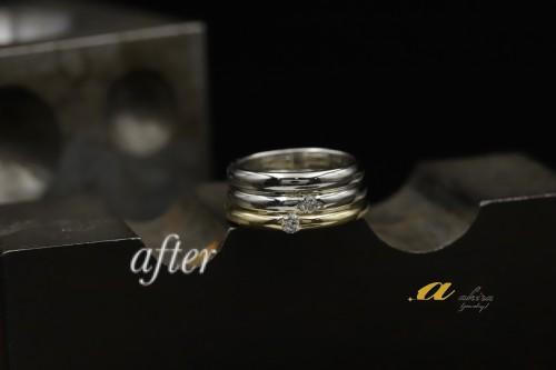 ロイヤルアッシャーの結婚指輪を重ね着けに八街市から