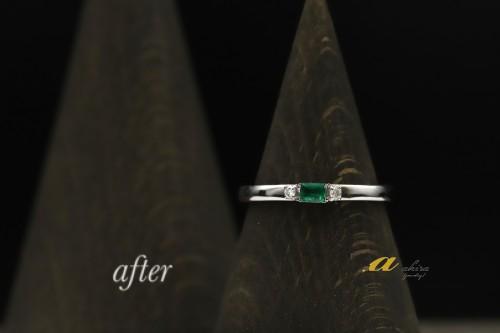 緑区おゆみ野からご来店のお客様エメラルドの指輪をリメイク