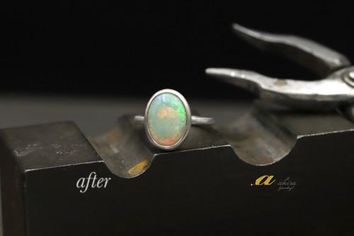 虹色に輝くオパールを指輪にリフォーム松戸市からご来店