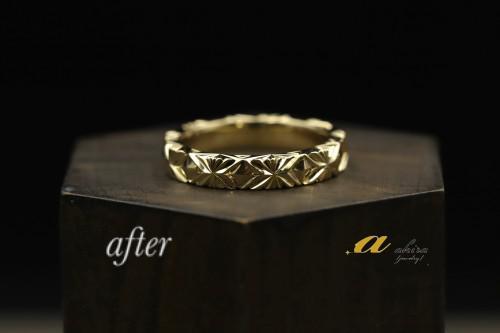 印旛郡から形見の24金の指輪をご希望の指輪にリフォーム