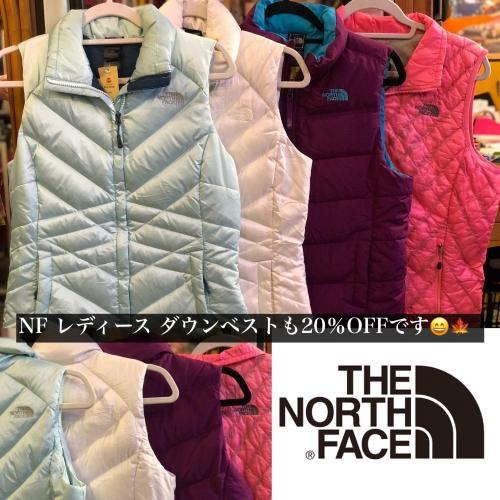 The North Faceダウンベストも20%OFFです!